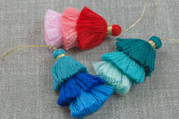 Ombre Puffy Tassels- 75mm - Triple Color- High Quality 27 Colors-2 pcs Per Order- Perfect for Earrings