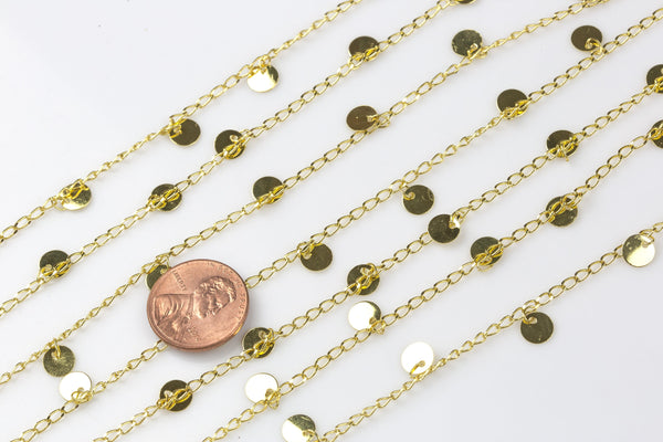 Coin Drop Chain Gold Plated Brass. High Quality Gold Plating!!! By THE YARD / 3 feet