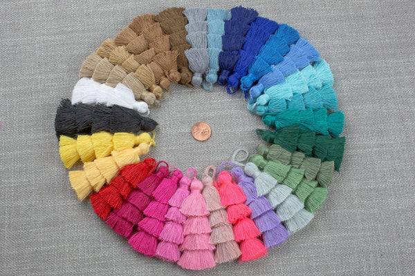 Ombre Puffy Tassels- 75mm - Triple Color- High Quality-30 Colors- Medium Size Solid Colors-2 pcs Per Order- Perfect for Earrings