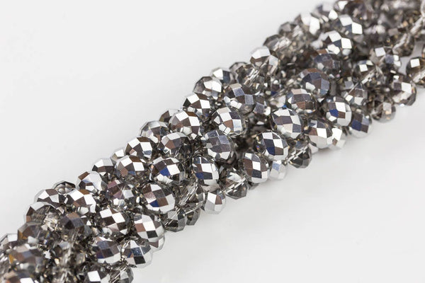 10mm Crystal Rondelle -2 or 5 or 10 STRANDS- Half Silver