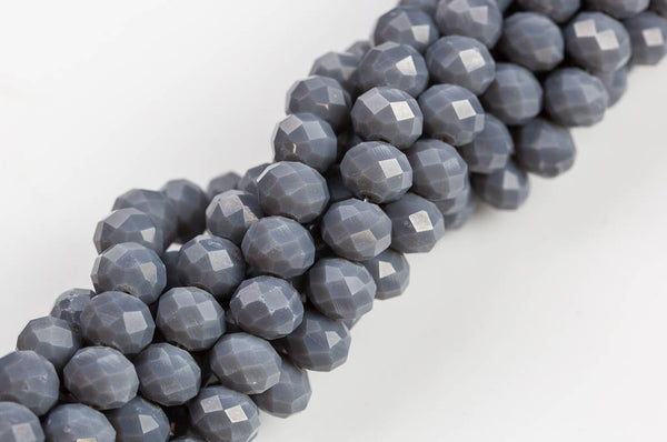 10mm Crystal Rondelle -1 or 5 or 10 STRANDS- Medium Gray