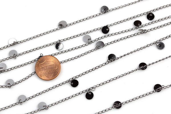 Coin Drop Chain Gunmetal Plated Brass. By THE YARD