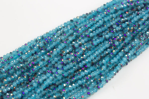 4mm Crystal Rondelle -2 or 5 or 10 STRANDS- Blue Half Purple