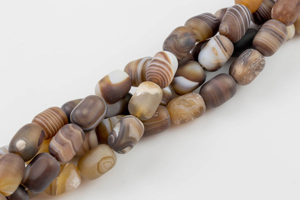 Matt Banded Gray Agate, High Quality in Matt Barrel, 12*18mm- In Full 15.5 Inch Strand