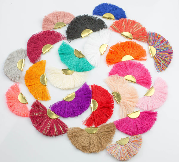 "New Colors! BEAUTIFUL Fan Tassels on Brass Findings. Perfect for earrings or pendants! One pair per order. 1"" by 2"""