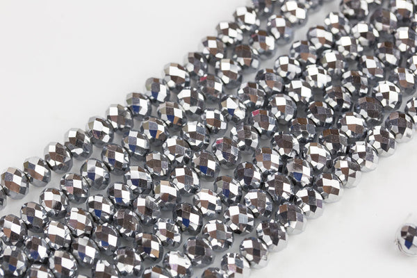 10mm Crystal Rondelle -2 or 5 or 10 STRANDS- Silver