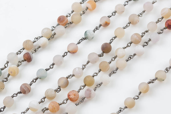 Druzy Rosary Chain-- High Quality 6mm round Matt-- Gunmetal Plated Brass