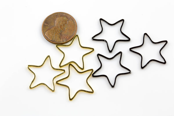 Star Gold Plated and Gunmetal Plated  -High Quality-Perfect for Earrings- Nice and Light- 6 pieces  two sizes 15mm and 20mm