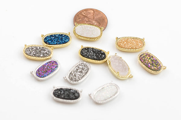 Druzy Oval Connectors wrapped in Gold Pendants 2 Loops - 10*17mm - 11 Colors