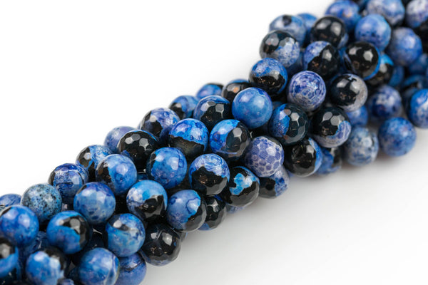 Blue Fire Agate, High Quality in Faceted Round, 8mm, 10mm, 12mm- Full strand- 15.5 inches Long