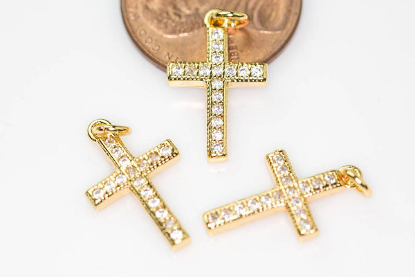 Gold Cross CZ Pave Pendant- 10*16mm