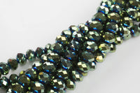 12mm Crystal Rondelle -2 or 5 or 10 STRANDS-  Green Metallic