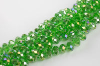 12mm Crystal Rondelle -2 or 5 or 10 STRANDS-  Peridot AB
