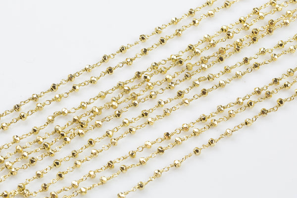 Pyrite Rosary Chain by the Foot. 3-4mm Light Gold