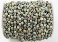 Matte African Turquoise Rosary Chain 6mm or 8mm- High Quality round- Gunmetal Plated Brass- By the Yard / 3 Feet