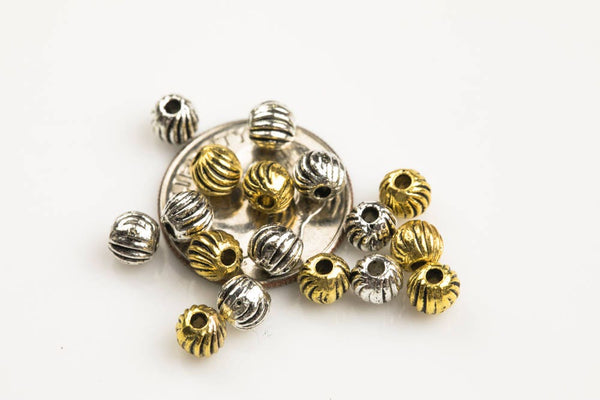 60 PEWTER BEADS 4x4mm- 24-0157