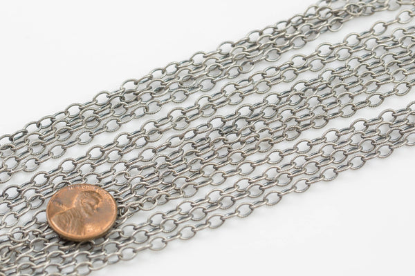 4*6mm Sterling silver Texturized Oval Chain- Oxidized