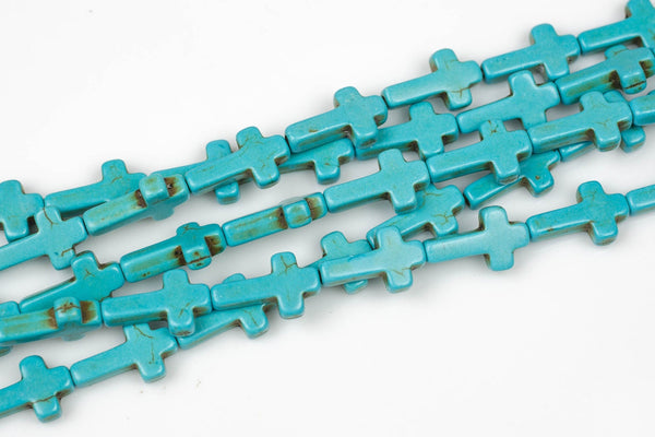10*16mm Turquoise Small Cross- Full 15 Inch Strand