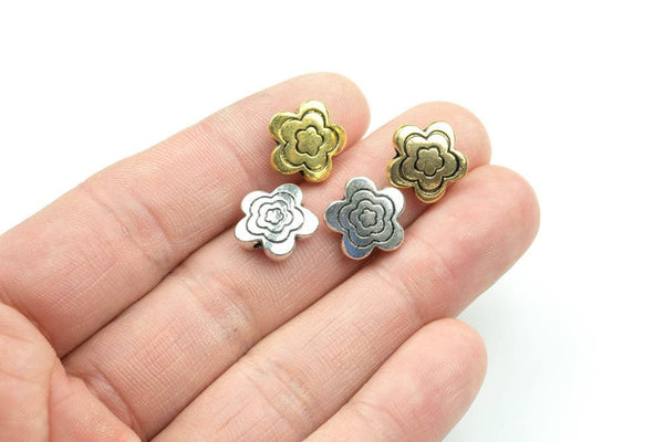 10 Flower PEWTER BEADS 13mm- 114-10700