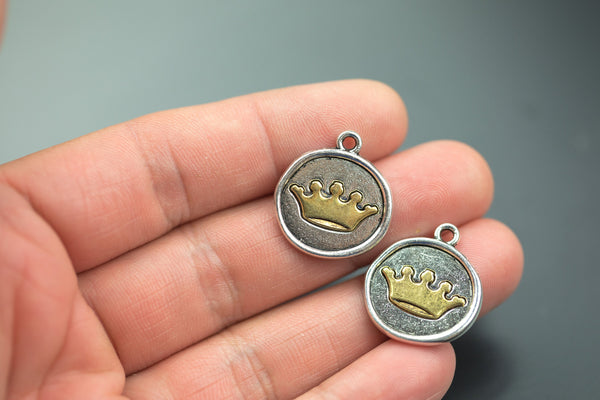 4 Tree Charms Silver Coin with Gold Crown, Crown Charms, round coin charms, 24x20mm