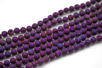 DRUZY AGATE Beads-- Metallic Purple- 8mm, 10mm, 12mm. Full 15.5 inch strand AAA Quality