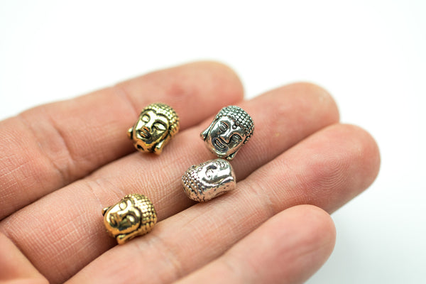 Wholesale! 10 or 50 pcs Buddha Head 8*11mm Bead Pewter