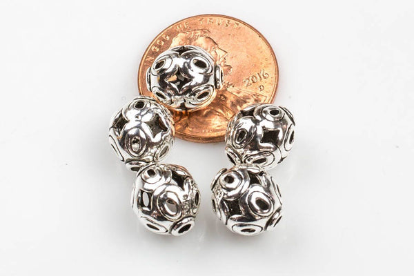 Barrel Beads 925 Sterling Silver 8*10mm--s4-  2 pieces