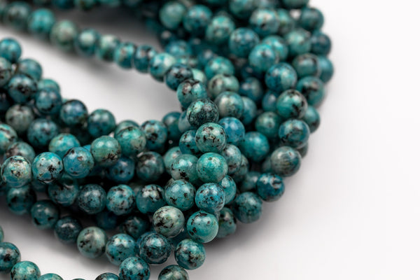 Apatite Blue JADE Smooth Round- 6mm and 8mm -Full Strand 15.5 inch Strand AAA Quality
