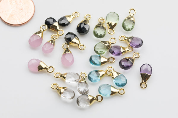 Birthstone Drops Small Petite Cute Drops Briolette Teardrop Charms / Pendants ~6x13mm - Quartz Tourmaline Aquamarine Peridot Amethyst Rose
