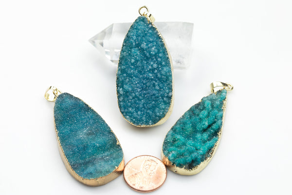Aqua Quartz Druzy Wrapped in Gold Teardrop Pendant