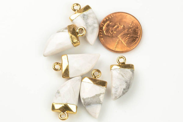 Howlite Pendant with Electroplated Gold Cap- Horn, Teeth, Tooth