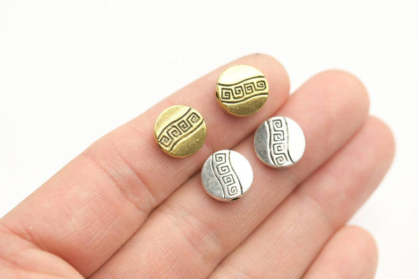 11 Coin PEWTER BEADS 12mm- 57-9609