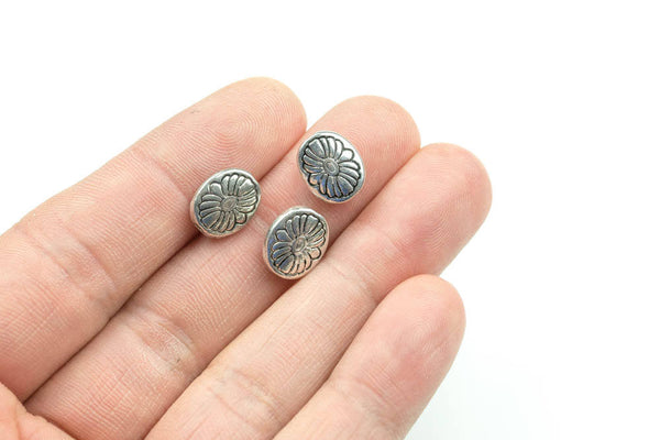 11 Oval PEWTER BEADS 9x11mm- 116-10833