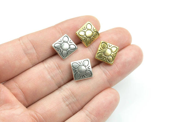 8 Flower Square Pewter Spacer Beads 4x11mm 124-10852
