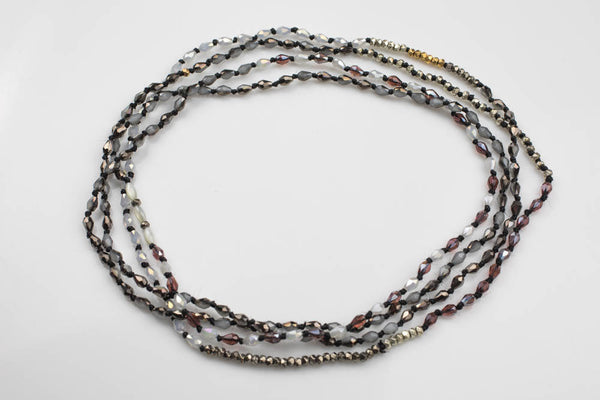 "Isabel Long Layering Necklaces with Pyrite and Mother of Pearl - Double Wrap - Gray - Perfect for Layering 60"" #3"