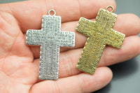 3 Large Cross Metal Pendant Charms 33x45mm 1345-35362