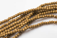 2 Strands Natural Wood Beads - Off Round - Tan / Not Shiny Color - 8mm - 2 strands ~15""