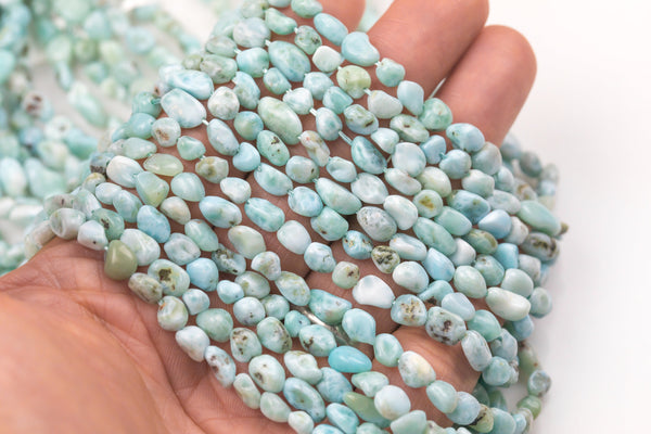 Natural Larimar Nugget Beads - Around 6x9mm in dimensions -16 Inch strand - Wholesale pricing