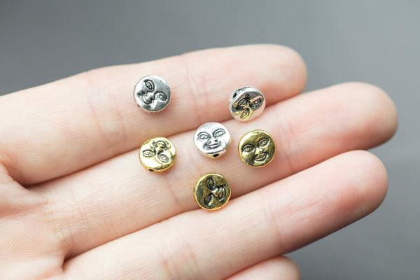 25 Moon Face Coin Beads PEWTER BEADS 8mm- 1109-0869