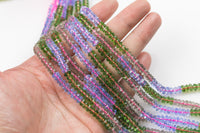 Quartz Multicolor Mixed - Sharp Cut - Hand Faceted Freeform Rondelles Roundel - 5-6mm -1 full strand 12 inches 12""