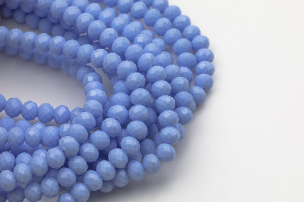 8mm Crystal Rondelle - 2 or 5 or 10 STRANDS- Sky Blue