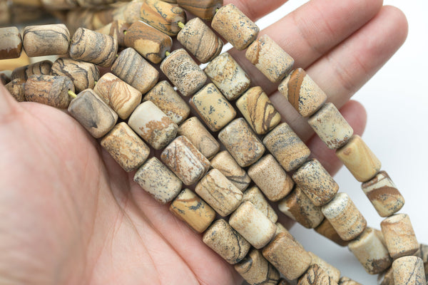 "Picture Jasper Matte Oval Beads Natural Picture Jasper Beads - Barrel Tube Shaped 14x10mm - 1 strand ~15.5"" - Special Exclusive Item"