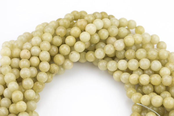 Light Olive Yellow Jade- Faceted Round 4mm 6mm 8mm 10mm 12mm - Single or Bulk - 15.5""