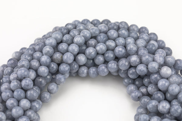 "Gray Jade- Faceted Round 4mm 6mm 8mm 10mm 12mm - Single or Bulk - 15.5"" AAA Quality AAA Quality"