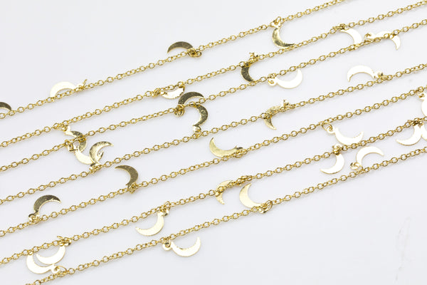 Moon Drop Chain Gold Plated Brass. High Quality Light Gold Plating. By THE YARD