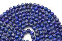Gorgeous Natural Lapis, No Dye High Quality in Faceted Round, 4mm, 6mm, 8mm, 10mm- Wholesale Pricing- Full 15.5 Inch Strand