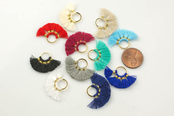 2pcs/10pcs Fan Tassels Small Round. Perfect for earrings or pendants - 20*28mm