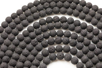"Natural Lava Rocks Diffuser Oil Round Beads - Lava Beads for Essential Oil  - A Qual Full 15.5"" Strand 4mm 6mm 8mm 10mm 12mm 14mm -Wholesale"