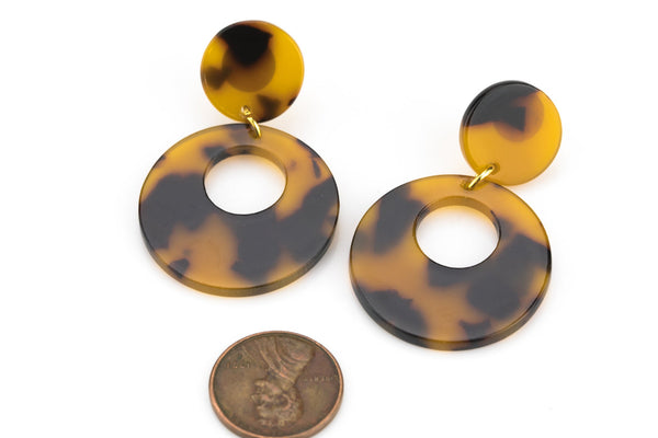 Tortoise Shell Acetate Earring- 15mm Earring Stud- 35mm Drop- Ready to Wear- High Quality Gold PlatingTortoise Shell