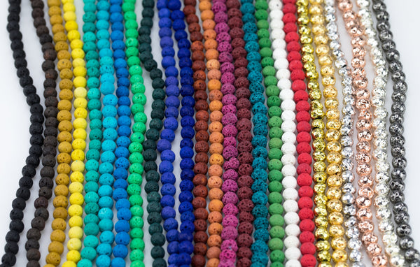 "6mm Lava Rock Beads Multicolor Natural Round Loose - Color Colored Lava Beads - Full 15.5"" Strands - Wholesale Pricing"